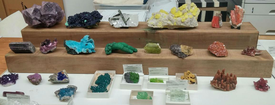 Incomplete mineral display created by Paula Piilonen and Pamela Iraheta during Pamela's Cox Internship at the Museum of Nature