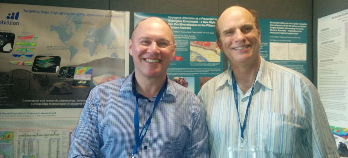 Dr. Richard Ernst (right) at Target 2017 with with Dr. Cam McCuaig,  Principal Geoscientist, Geoscience Center of Excellence, BHP Billiton