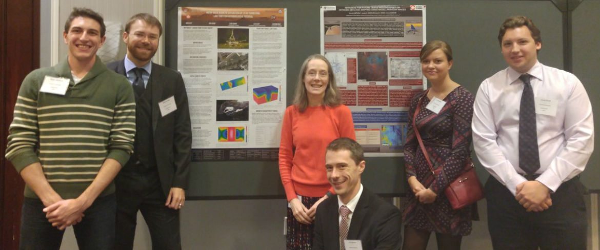 Participants from Carleton in front of their posters. From left to right: Skyler Mallozzi, Andrew Hay, Claire Samson, Chris Brown, Erin Bethell, and Jamie Graff.